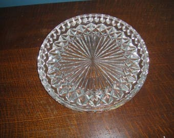 """Genuine Vintage Waterford Crystal 8"""" Round Serving Platter, Hors D'oeuvre Tray, Canape Server Signed Waterford Authenticate Waterford"""