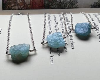Raw Aquamarine Necklace - Rough Aquamarine Necklaces  - Aquamarine Jewelry - March Birthstone - Raw Crystal Jewely - March Birthday