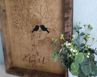 Personalized Love Birds Wood Burning | Wedding Gift | Rustic | Wood Burning | Calligraphy | Family | Newlyweds | Decor |
