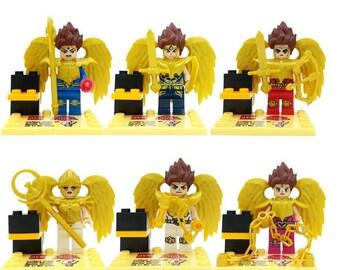 Lot of 6 figures Lego Knights of the Zodiac (Saint Seiya) customized