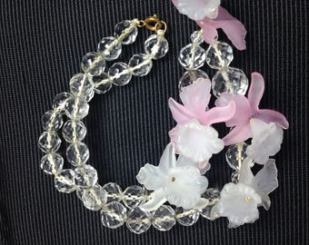 Charming Lucite & Crystal Necklace.