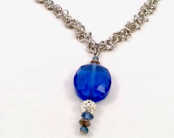 Blue Crystal and Silver Necklace