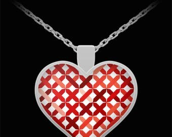 Red knitted heart pendant