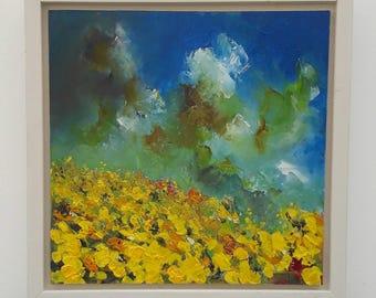 Framed original oil painting on panel 'Sunflower Hill' by Michael Hemming
