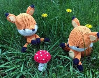 Juni the Fox. Amigurumi crochet made sitting fox. Forest friend