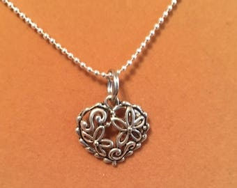 Heart with flowers charm necklace