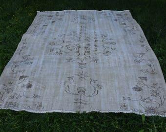 vintage rug Free Shipping muted colored oushak rug 5.7 x 7 feet handknoted tribal area rug aztec rug organic wool floor rug boho rug Code301