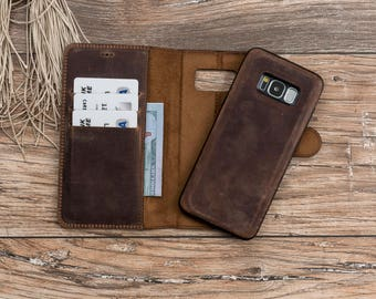 Leather Wallet Case For Galaxy S8, Leather Case for Galaxy S8, Wallet Case for Galaxy S8, Brown Detachable Case for Galaxy S8, Brown #POLİ