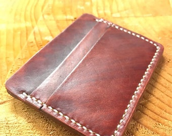 Leather money clip card case