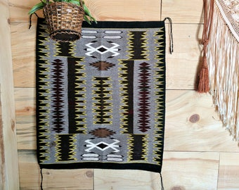 Native American handwoven wool rug | vintage southwestern wall hanging | Navajo pattern weaving