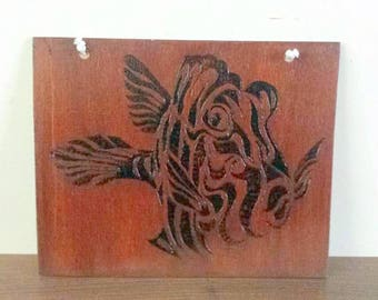 fish woodburnt silhouette picture