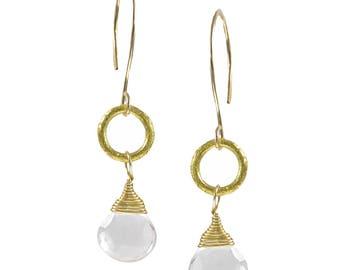 Kalen Quartz and Gold Circle Earrings