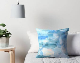 Blue Pillows - Blue Pillow Covers - Blue Decorative Throw Pillows - blue accent pillow -  Design from an original ABSTRACT painting