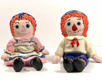 Vintage Ceramic Raggedy Ann and Andy Bookends