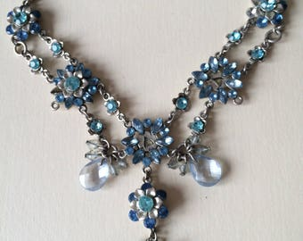 Silver & Sea blue bling costume jewelry necklace