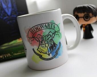 Hogwarts Crest Harry Potter Inspired watercolor 11oz mug