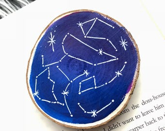 Constellation painted wood slice magnet