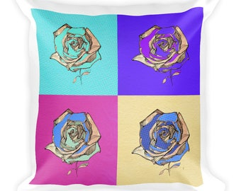 Four Roses  Square Pillow | Valentine's Day | Art for Lovers | Romance |  | Gift Idea