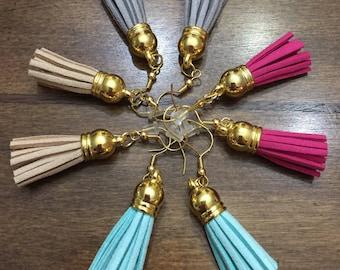 Tassel Earrings Pink Tan Peach Gray Grey Turquoise Blue Aqua Gold Dangle