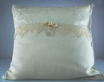 Ivory damask decorative pillow with lace