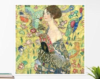 "Gustav Klimt, ""Woman with a Fan"".  Art poster, art print, rolled canvas, art canvas, wall art, wall decor"
