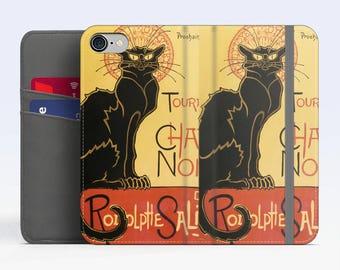 """Théophile Steinlen, """"Du Chat Noir"""". iPhone 8 Wallet case, iPhone 7 Wallet case  iPhone 6 Plus Wallet case. Samsung Wallet cases."""
