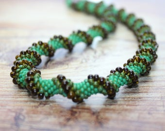 Beaded necklace crochet beaded necklace fashion jewelry desiner jewelry Beaded jewelry Green Brown Necklace