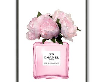 Chanel nr.5 art print Chanel perfume with Pink Peony flowers Chanel poster Chanel painting Flowers art print Fashion art print flowers art