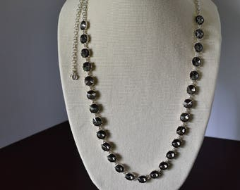 Vintage Late '90s Swarovski Crystal Gray and Silver Necklace