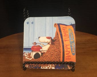 Vintage 'Happy Tummy Dog Food' cork coaster.
