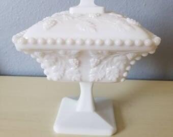 Vintage Westmoreland Milk Glass candy dish. Wedding