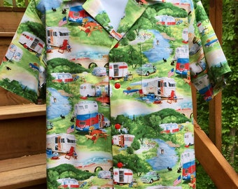 Retro Rv Campers Trailers Hawaiian-Style Shirt