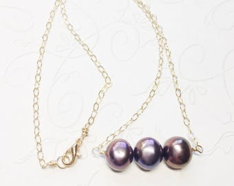 Pearl Bar Necklace Freshwater Pearls Gold Chain