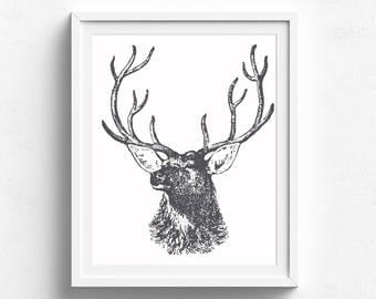 Black and White Deer Head Print, Stag, Buck, Woodland Art, Deer Art, Animal Print