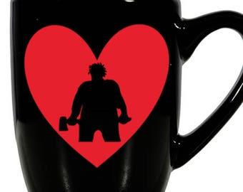 Madman Marz Slasher Camp Killer Valentine's Day Love Heart Horror Mug Coffee Cup Gift Home Decor Kitchen Halloween Bar