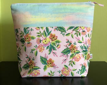 "Handmade large zipper pouch for knitting and crochet project 11.5"" x 7.5"" x 9.5"" x 3.5""  *Grand Roses Watercolour*"