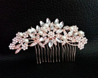 Rose gold crystal bridal hair comb