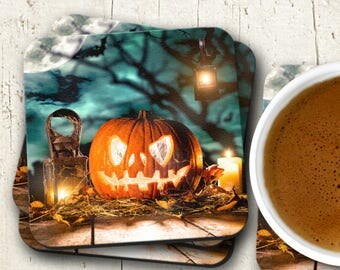 Halloween Decor, Halloween Pumpkin Coasters, Set of Four