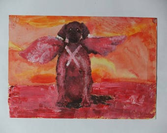 A print copy of a mythic dog with wings - collectible made in 2004