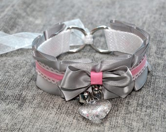 BDSM/DDLG/Kitten Play Grey and Pink Ruffle Collar with Heart Crystal and Small Bell