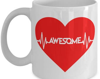 Awesome Heartbeat Mug - 11oz or 15oz Ceramic Cups For Coffee And Tea