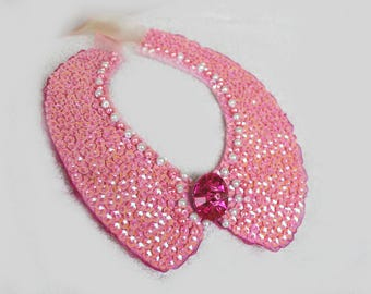 Peter pan collar necklace detachable Collar beaded Collar with ruby