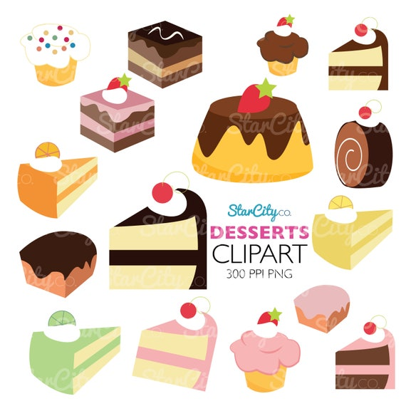 Items similar to Dessert Clipart, Cake Clip art, Sweets ...