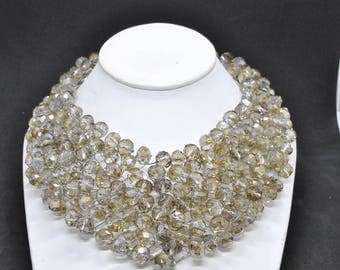 smoky crystal wire necklace