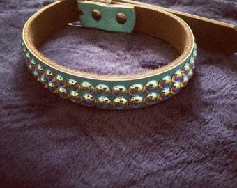 Hand made Swarovski adorned leather dog collar