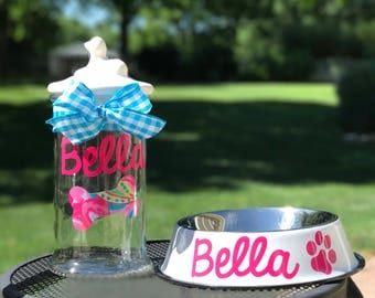 Monogrammed Dog Treat Jar, Personalized Dog Treat Jar, Dog Treat Container, Custom Dog Treat Jar, Dog Treat Container