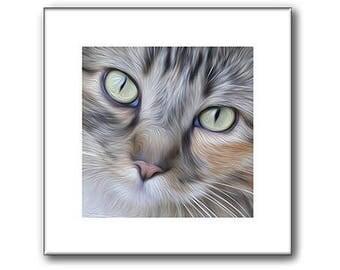 Pet Portraits - Cat Pet Portrait - Cat Portrait - 10 x 10