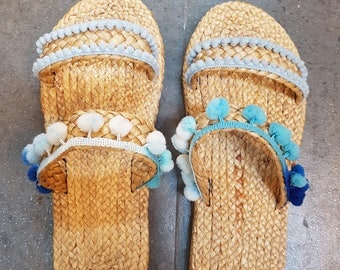Beach Sandals, Straw Sandals, Boho Sandals, Flip Flops, Handmade Sandals, Beachwear, Pom Pom Sandals