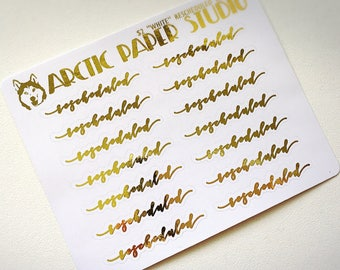 Rescheduled SCRIPTS- FOILED Sampler Event Icons Planner Stickers