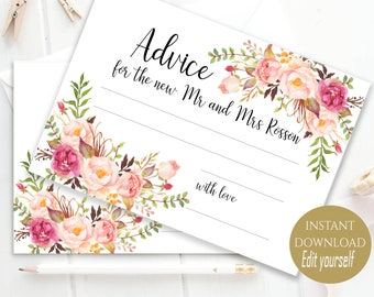 Personalized Advice Card Printable Wedding Advice Cards Editable Text Advice Card Template Advice for the Bride to be PDF Instant Download